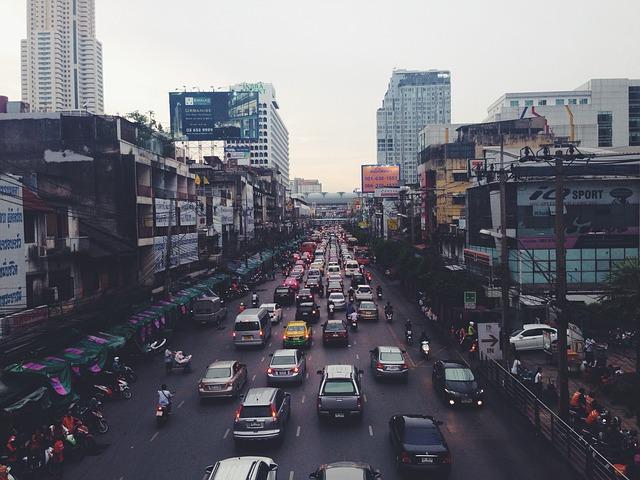 hustá doprava ve městě