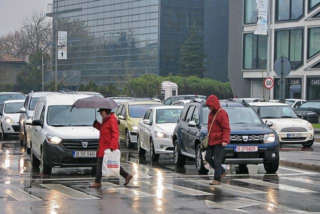 městský provoz za deště