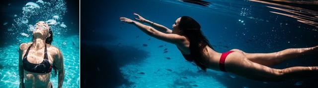 žena pod vodou